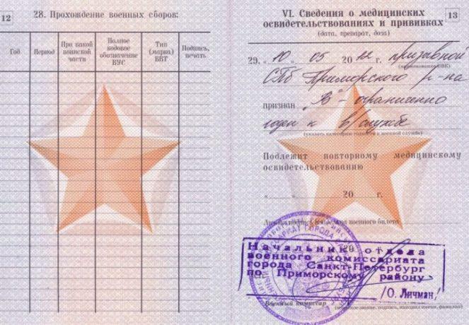 Статья в военном билете
